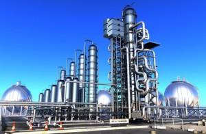 Fabrikanlage vor emissionsfreiem Himmel
